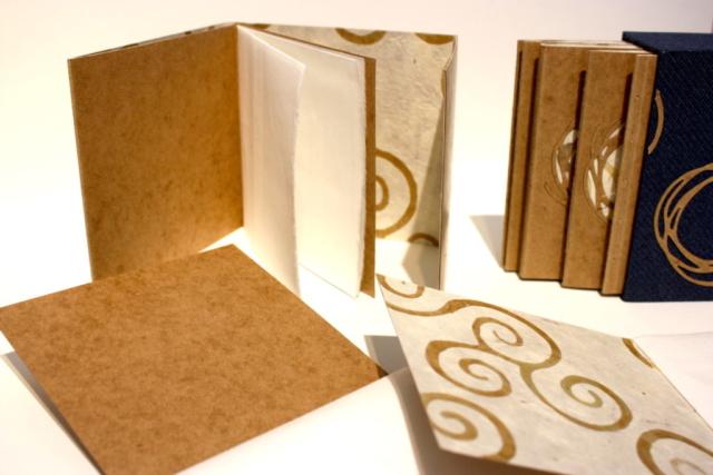 Cassette boek enkelkatern bindingen hand gemaakt kanvas presspan batikpapier lokta