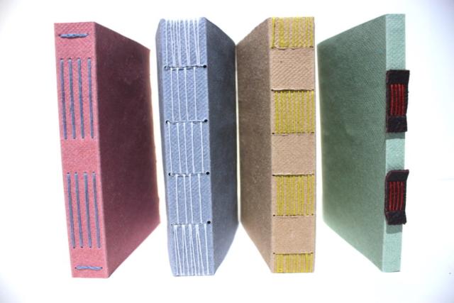 cassette, lansteekband, boekbinden, hand gemaakt, zaansch bord, behang, langsteek, longstitch,