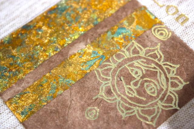 notitieboekjes, natuurlinnen, foliedruk, goud, boekbinden, hand gemaakt, inleg, zon, maan, leeslint