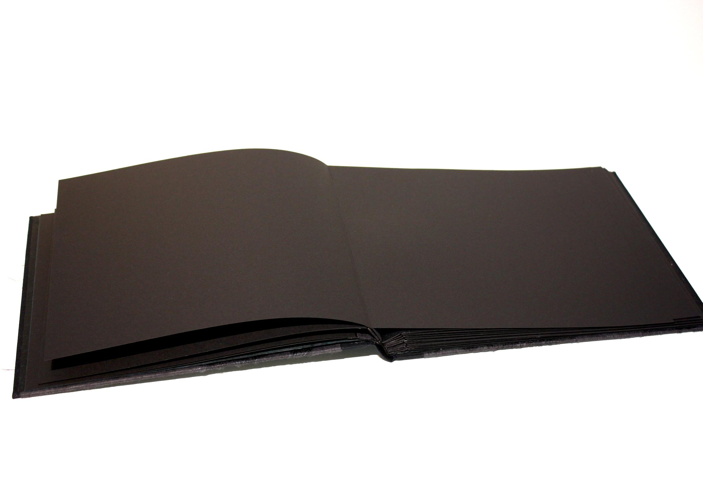 Fotoalbum atlasbinding linnen papier handgemaakt fotokarton zuurvrij papier zwart