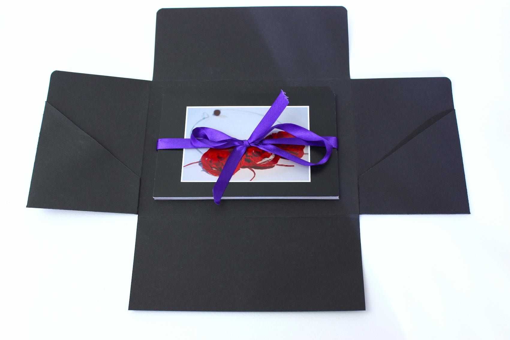 Foto presentatiemap fotokarton zuurvrij zwart lint insteek hoes