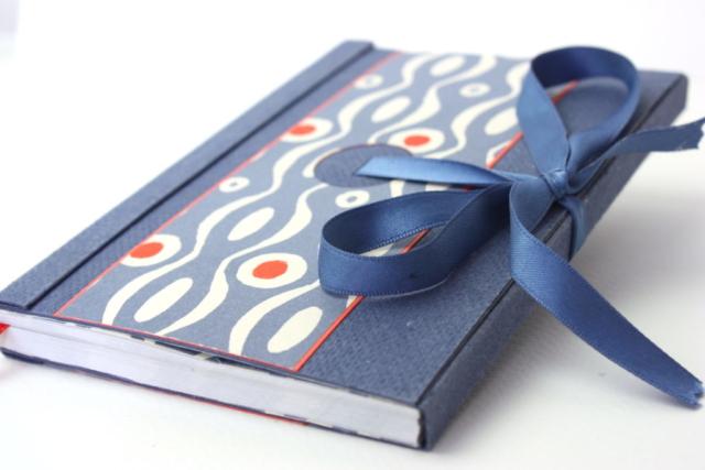 agenda, zaansch bord, lint, hand gemaakt, boekbinden, katernen