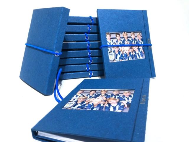 Team boekjes, karton, blauw, ringband, elastiek, boekbinden, hand gemaakt