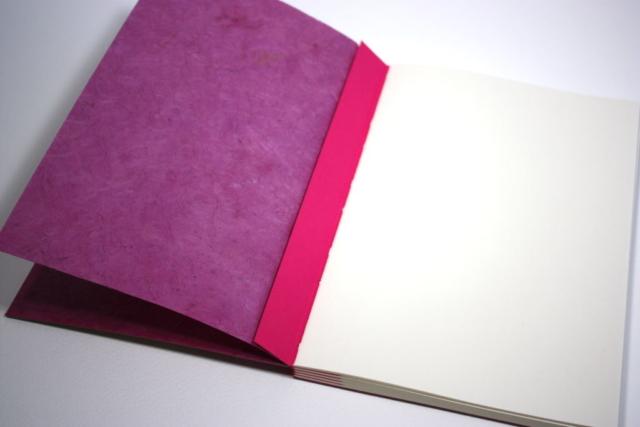 notitieboek met rugnaaisel in het zicht, kruissteek, open rug, kraft, katernen, meegewaaide platten